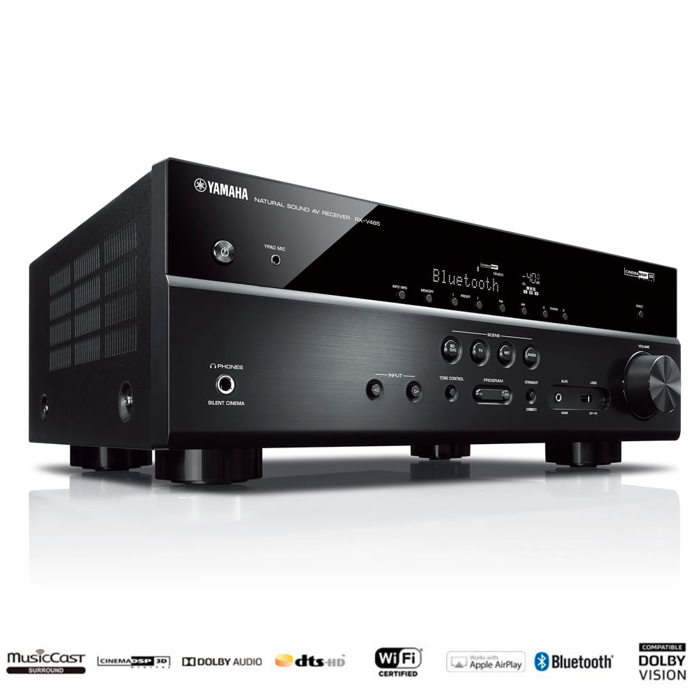 Receiver-Yamaha-RX-V485-5.1ch-Bluetooth-Wi-Fi-AirPlay-musicCast-4K-UHD-HDR10-Frontal-Com-selos