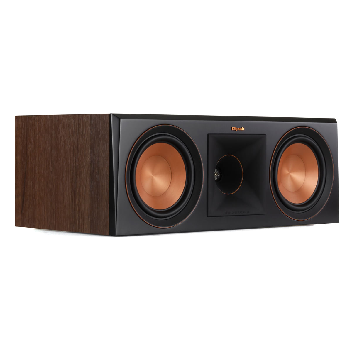 Klipsch-Reference-Premiere-Rp-600C-Walnut-Lateral-Sem-Tela
